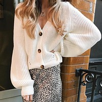 White Cardigan Women Long Batwing Sleeve Oversized Knitted Sweater Hollow Out Knitwear Korean Style