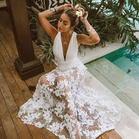 Vintage dress women elegant Wedding V Neck Party dress Ladies Sexy robe femme Sexy Slim Hollow Lace Dress boho beach vestidos