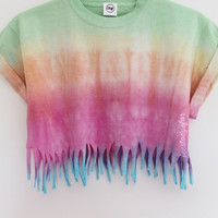 Tees To Dye For — Ombre Fringe Crop (Pre-order 3-4 working days)
