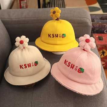 Children's hat spring and autumn thin section cute super cute girl fisherman hat baby autumn and winter baby hat shade autumn