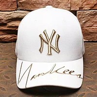 MLB NY Fashion New Embroidery Letter Women Men Sunscreen Cap Hat White