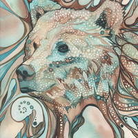 Grizzly Bear Sprit 8.5 x 11 print of detailed hand painted watercolour artwork in whimsical psychedelic turquoise earth tones
