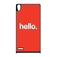 Hello Black Hard Plastic Case for Huawei P6 by textGuy