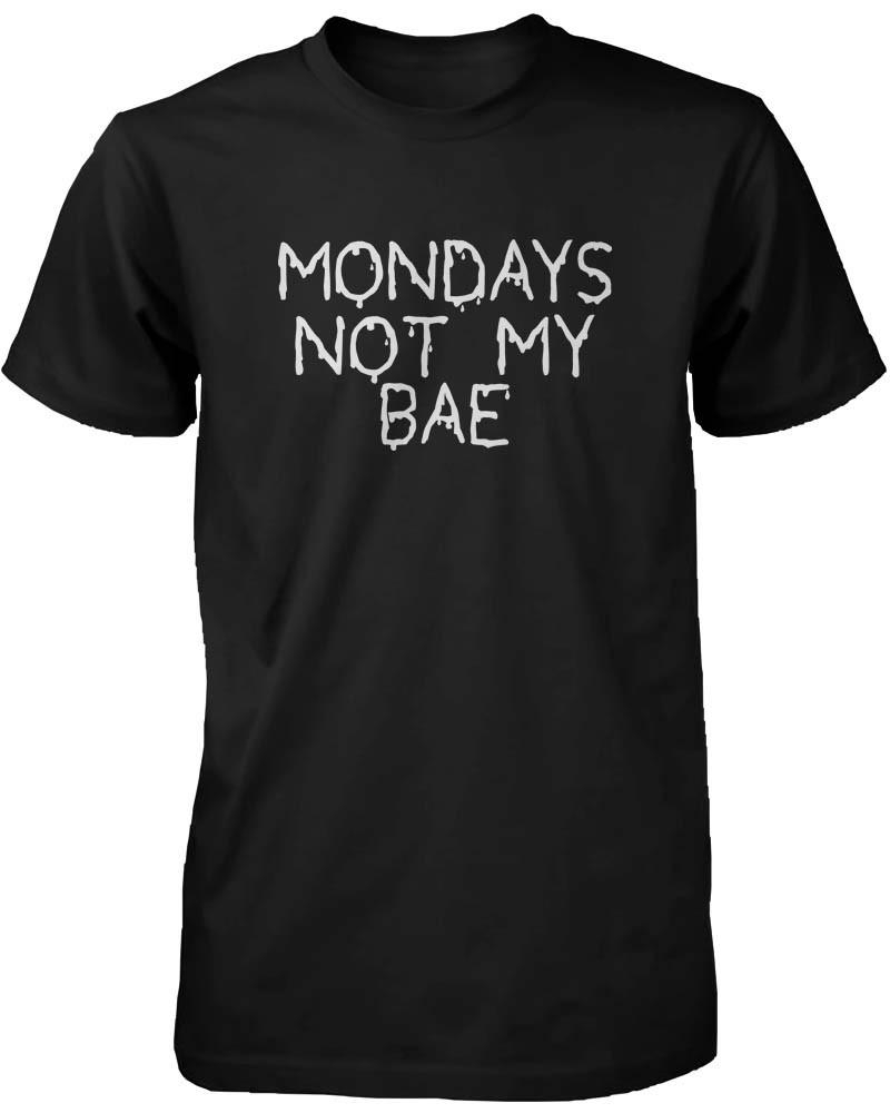 Image of Funny Graphic Statement Mens Black T-shirt - Monday Is Not My Bae