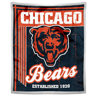 Chicago Bears NFL Mink Sherpa Throw (50in x 60in)