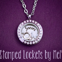 forever - Hand Stamped Stainless Locket - Inspirational Jewelry - Floating Memory Locket - Wedding Anniversary Gift - Ring and Rose Charm