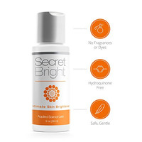 Secret Bright - BEST SKIN LIGHTENING for Sensitive Skin and All Intimate Areas - Natural whitening bleach cream gel - Safe for armpits and bikini - Hydroquinone Free - gently brighten dark, discolored skin and hyperpigmentation - Lightens fast (2 oz)