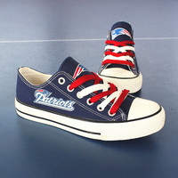 2016 Blue or Black New England Patriots Sneakers Fashionable Canvas Tennis Shoes FREE SHIPPING