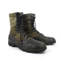 Combat Boots Vintage 1970s Black and Nylon Jump Leather Lace Up Grunge Men's size 9 1/2 R