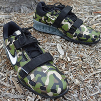 Custom Hand Painted Nike Romaleos 2 - Camo Weightlifting Shoes