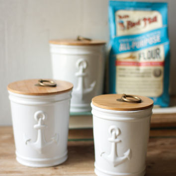Set of 3 Ceramic Anchor Canisters with Wooden Tops