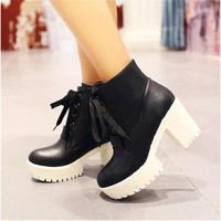 Roman Ankle Boots Chunky Heels Lace Up