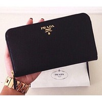 PRADA Classic Women's Trendy Leather Genuine Leather Wallet F-YJBD-2H