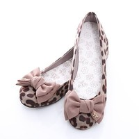BN Womens Bowed Wedding Ballet FLATS BALLERINAS Casual Work Shoes Leopard Prints