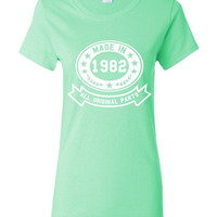 Made In 1982 With All Original Parts Great 32nd Birthday Celebration T Shirt Great Gift For 32nd Birthday Made In 1982