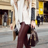 High Waisted Burgundy Wine Ox Blood Faux Leather Legging Full Length Pant