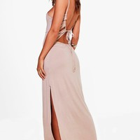 Petite Oana Back Lace Up Tie Maxi Dress | Boohoo