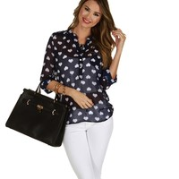 Sale-navy Follow Your Heart Marilyn Blouse