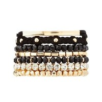 Beaded & Faux Suede Bracelets - 7 Pack by Charlotte Russe - Gold