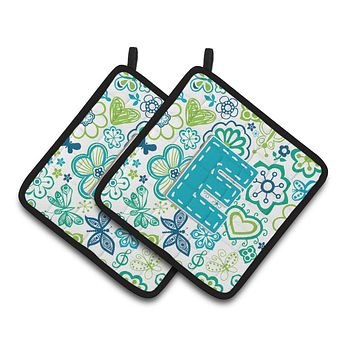 Letter E Flowers and Butterflies Teal Blue Pair of Pot Holders CJ2006-EPTHD