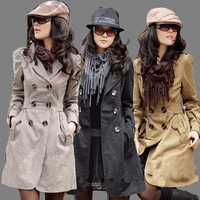 Women Peacoat Long Sleeve Double Breasted Coat Jacket Trench Outwear = 1956253700