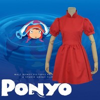 Hayao Miyazaki Movie PONYO Cosplay Costume Lovely Halloween Red Dress Custom Made For Female and Kids