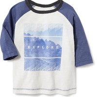 Old Navy Colorblock 3/4 Sleeve Graphic Tee