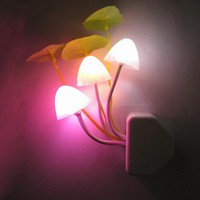 Mushroom colorful led night lights photoswitchable induction Novel night lamps baby wall lights AC110-220V EU Plug