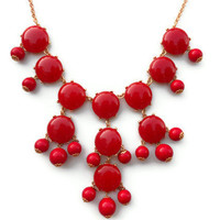 ready to ship red Bubble j crew inspired bib statement necklace couture wedding christmas