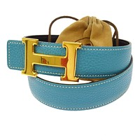 Authentic HERMES Vintage H Logos Buckle Constance Reversible Belt France JT05333
