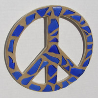 Cobalt Blue Glass Peace Sign  Peace Sign Wall Art  Mosaic Art  Hippie  Retro Decor  60's Decor  Teenage Dorm Room Art  Blue Decor