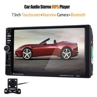 7060B 2 Din Car Radio 7 inch 1080P Touchscreen Car MP4 MP5 Video Player With Rear Camera Microphone Support steering-wheel