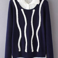Navy Contrast Lapel Beaded with Embroidery Detail Sweater