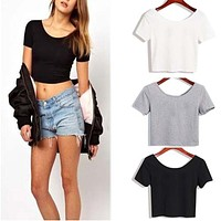 Hot Sale New Arrival 1PC Women Fashion Sexy Elastic Short Sleeve Crop Tops Casual Blouse Vest Free Shipping