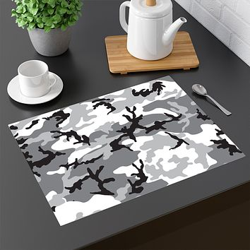 65 MCMLXV Grey Camouflage Print Four-piece Placemats