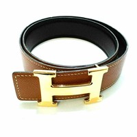 Auth HERMES H Belt Brown Gold Leather & Metallic Material Square B Belt