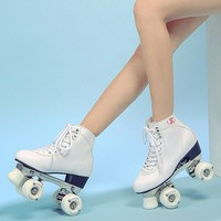 Reniaever  Classic Rink women's real Leather Quad roller skates  Aluminum base white wheels,high-top,white boot  free shipping