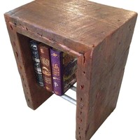 Rustic Industrial side table with Antique Reclaimed Wood