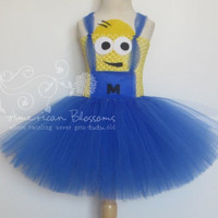 Minion Costume Tutu Dress Baby Girls Toddler Halloween Costume Despicable Me Minion tutu dress by American Blossoms
