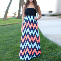 Chevron Print Strapless Maxi A-Line Pleated Dress