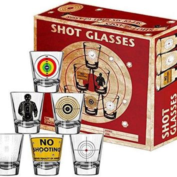 Shot Glasses - 6 Piece Shot Glass Set of Targets and Bullet Holes - Comes in a Colorful Gift Box