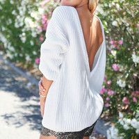 Backless Boat Neck Solid Color Puff Sleeve Sweater