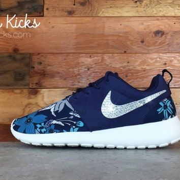 Nike Roshe One Customized by Glitter Kicks - Blue/White/Floral
