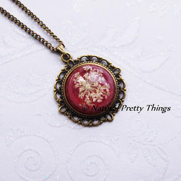 Pressed Flower Necklace Cherry Red Resin by NaturalPrettyThings