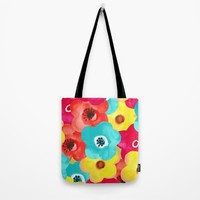 painted flowers; Tote Bag by Pink Berry Patterns