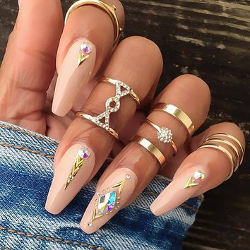 Women's Personality Full Rhinestone Joint Ring Ring Set 6 Pieces Set
