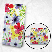 wallet phone case, personalized phone case, iPhone case, watercolor flowers, personalized gift, monogrammed phone case, phone case, wallet
