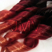 """12"""" #1b Ginger Kick Red Ombre Clip-In 100% human hair extensions Straight Red Orange Black"""