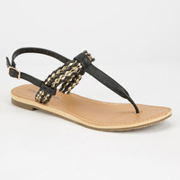 City Classified Friday Womens T-Strap Sandals Black  In Sizes