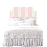 Wall Decal Headboard -  Canvas Stripe - Pink and Off White - TWIN - Lite version